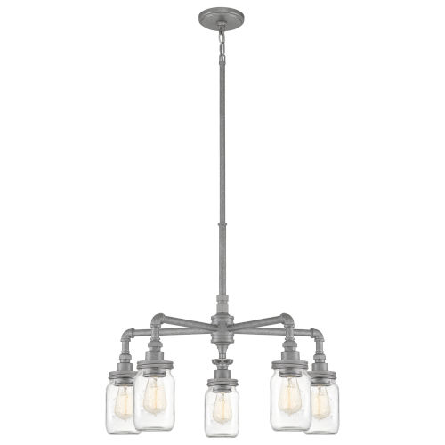 Squire Galvanized 26-Inch Five-Light Chandelier with Clear Glass