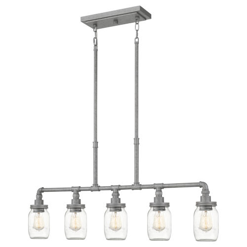 Squire Galvanized 38-Inch Five-Light Island Chandelier with Clear Glass
