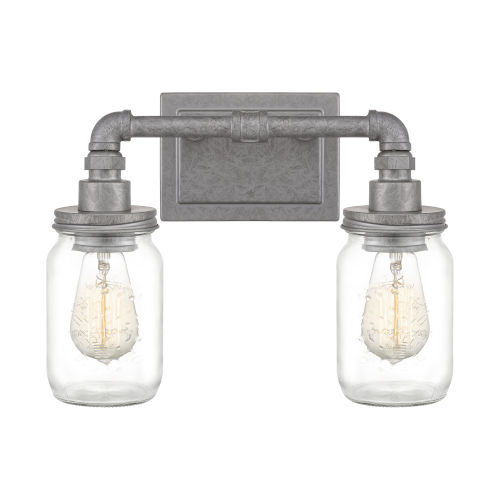 Squire Galvanized 14-Inch Two-Light Bath Light with Clear Glass