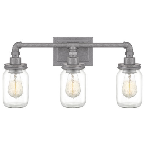 Squire Galvanized 22-Inch Three-Light Bath Light with Clear Glass