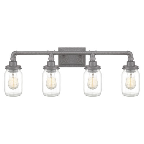Squire Galvanized 31-Inch Four-Light Bath Light with Clear Glass