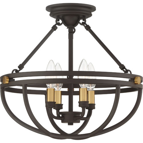 Sergeant Western Bronze Four-Light Semi-Flush Mount