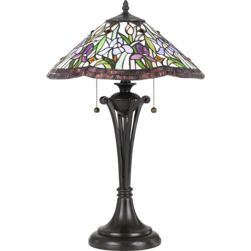 Tiffany Vintage Bronze 25-Inch Two-Light Table Lamp