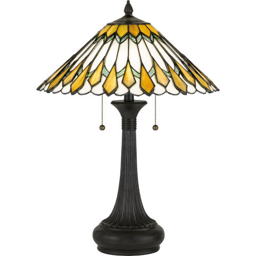 Maddow Vintage Bronze Two-Light Table Lamp with Tiffany Glass
