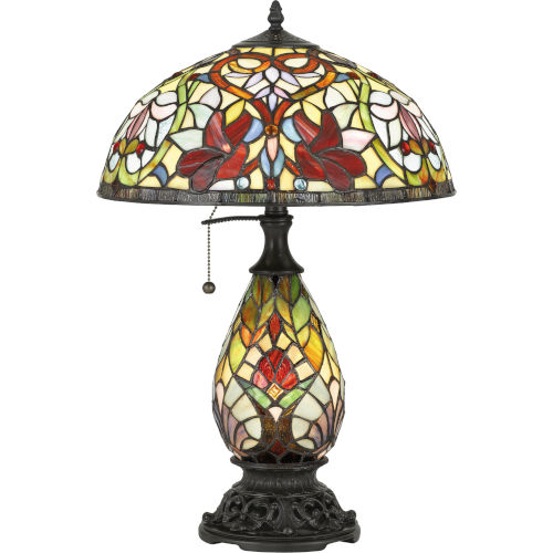 Channing Vintage Bronze Two-Light Table Lamp with Tiffany Glass