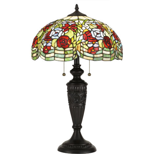 Privette Vintage Bronze Two-Light Table Lamp with Tiffany Glass