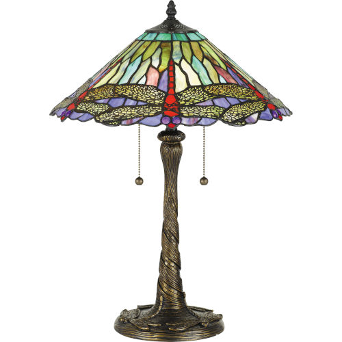 Skimmer Brown Two-Light Table Lamp with Tiffany Glass