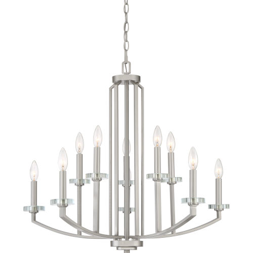 Transit Brushed Nickel Ten-Light Chandelier