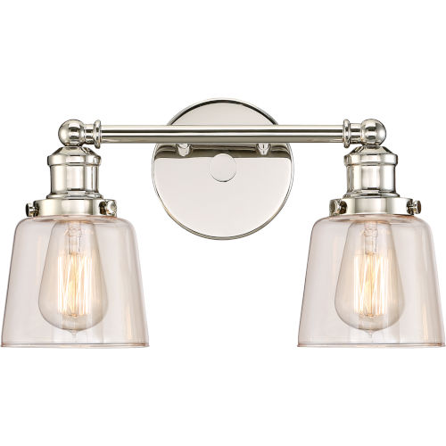 Union Polished Nickel 15-Inch Two-Light Bath Light
