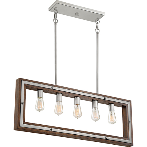 Westerly Brushed Nickel and Wood Five-Light Linear Pendant