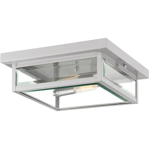 Westover Stainless Steel 12-Inch Two-Light Outdoor Flush Mount with Glass