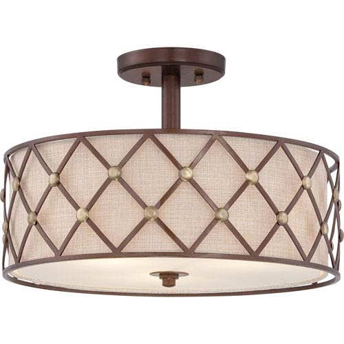 Quoizel Brown Lattice Copper Canyon Three-Light Close to Ceiling