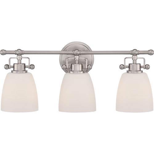 Quoizel Bower Brushed Nickel Three-Light Vanity Fixture