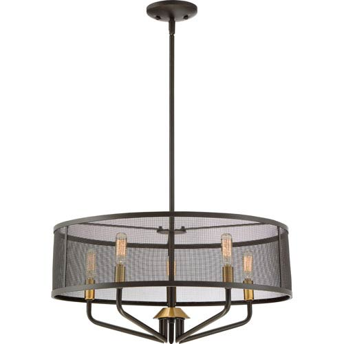 Cityscape Western Bronze 22-Inch Five-Light Pendant