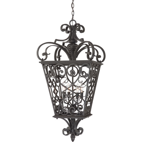 Quoizel Fort Quinn Marcado Black Four-Light Outdoor Pendant