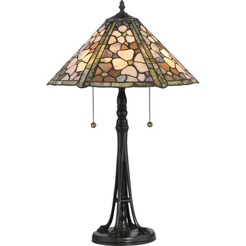 Jade Portable Vintage Bronze Two-Light Table Lamp