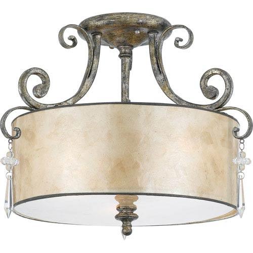 Kendra Mottled Silver Semi-Flush Ceiling light