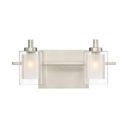 Kolt Brushed Nickel LED Two-Light Bath Light