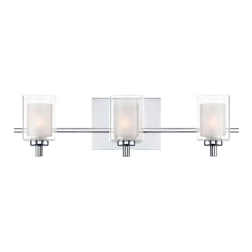 Quoizel Kolt Polished Chrome Three-Light LED Vanity with Outer Clear Glass