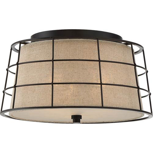 Landings Mottled Cocoa Three-Light Flush Mount
