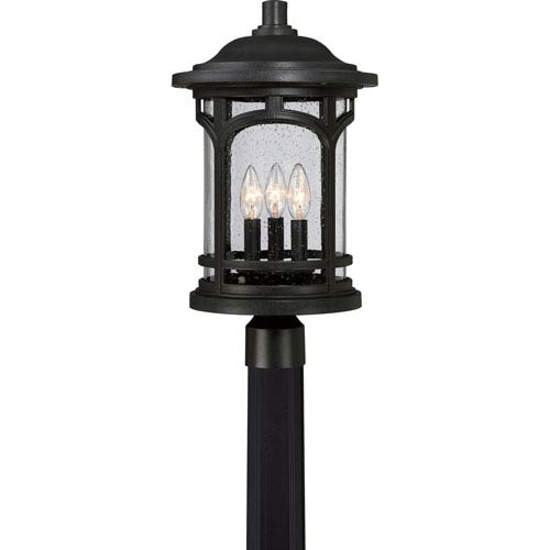 Marblehead Mystic Black 11-Inch Three-Light Outdoor Post Mount