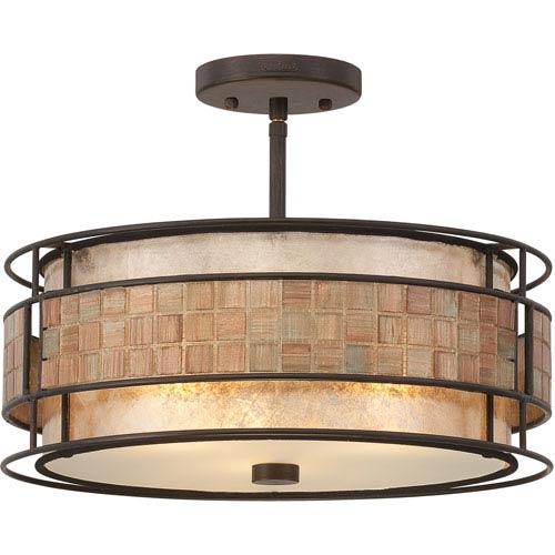 Mica Renaissance Copper Three-Light Semi-Flush