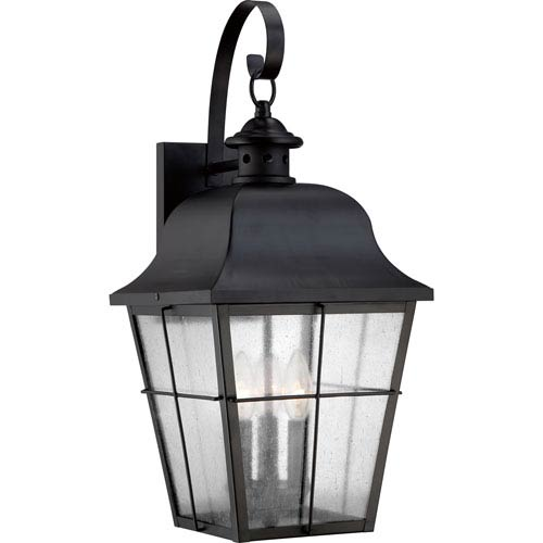 Quoizel Millhouse Mystic Black Three Light Outdoor Wall Fixture