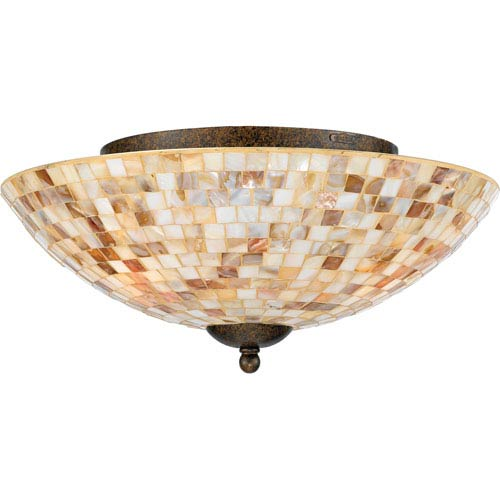 Quoizel Three-Light Malaga Monterey Mosaic Flush Mount