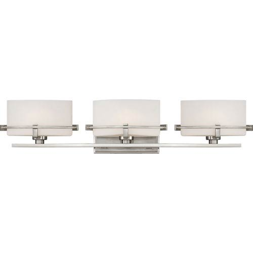 Quoizel Nolan Brushed Nickel Three-Light LED Vanity with Opal Etched Glass