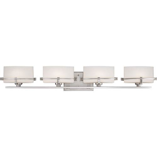 Quoizel Nolan Brushed Nickel Four-Light LED Vanity with Opal Etched Glass