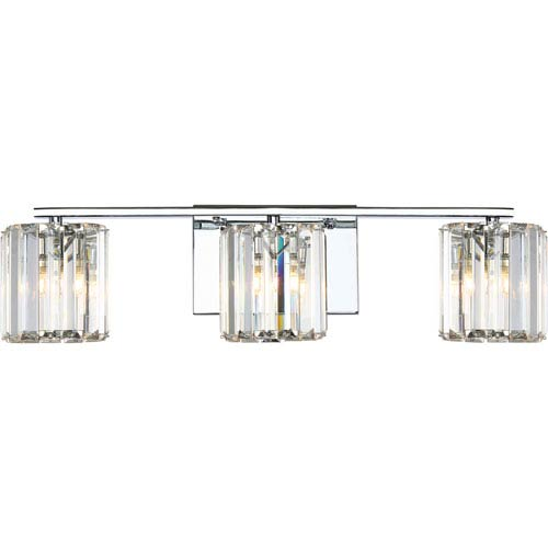 Platinum Collection Divine Polished Chrome Three-Light LED Vanity with Clear Cristal Shade