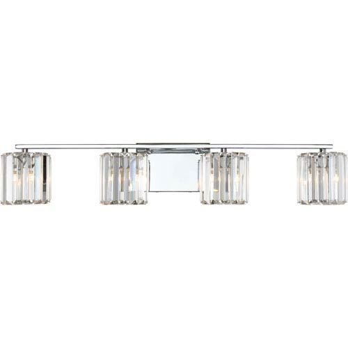 Platinum Collection Divine Polished Chrome Four-Light LED Vanity with Clear Cristal Shade