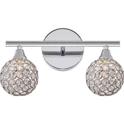 Quoizel Platinum Collection Shimmer Polished Chrome Two-Light LED Vanity with Crystal Studded Shade