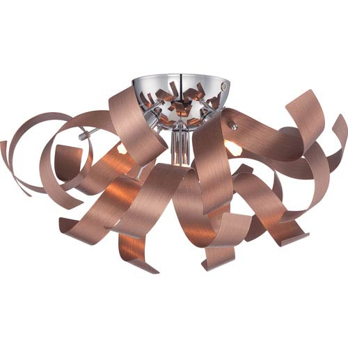 Ribbons Bronze with Gold Four-Light Close to Ceiling
