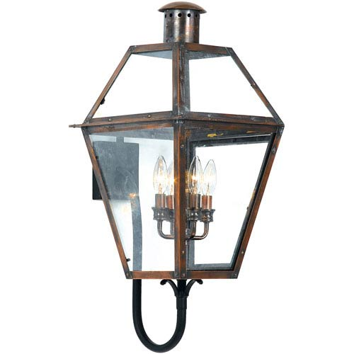 copper outdoor lighting lantern pendant light rue de royal large outdoor wall mount copper lighting free shipping bellacor