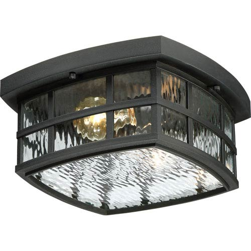 Stonington Mystic Black Two-Light Outdoor Flush Mount