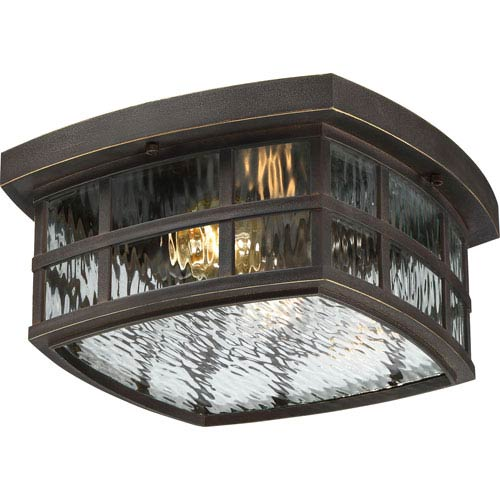 Stonington Palladian Bronze Two-Light Outdoor Flush Mount