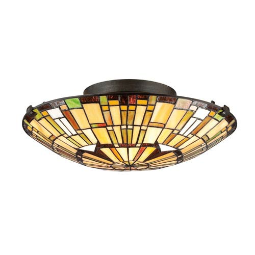 Quoizel Elegant Tiffany Vintage Bronze 6-Inch Two-Light Flush Mount