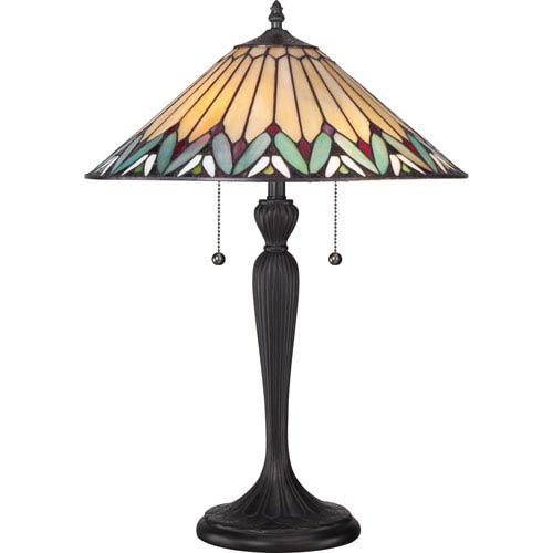 Quoizel Tiffany Resin 16-Inch Two-Light Table Lamp