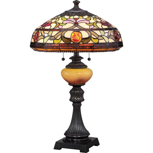 Quoizel Tiffany Imperial Bronze 27.5-Inch Two-Light Table Lamp
