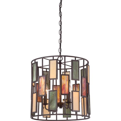 Quoizel Tiffany Dark Bronze with Antique Gold Four-Light Pendant