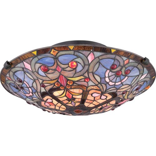 Quoizel Tiffany Dark Bronze with Light Bronze 7-Inch Height Two-Light Interior Close to Ceiling