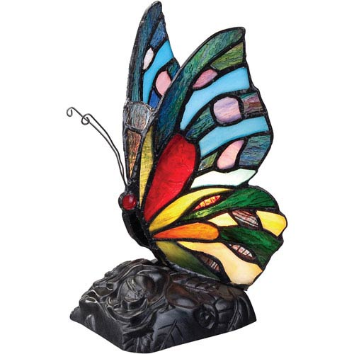 Tiffany Glass 9-Inch One-Light Tiffany Accent Lamp