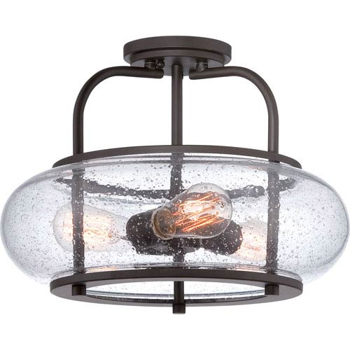 Trilogy Old Bronze Three Light Semi-Flush Mount