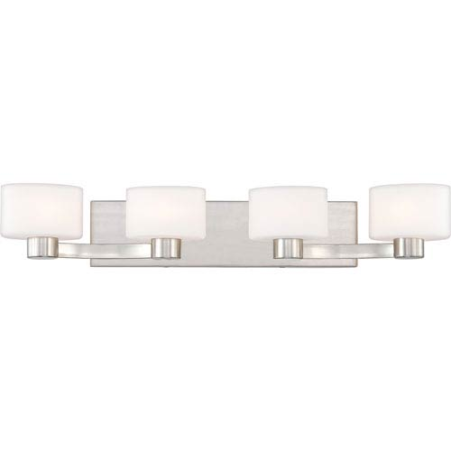 Quoizel Tatum Brushed Nickel Four-Light LED Vanity with Opal Etched Glass