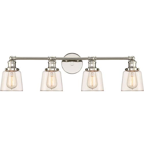 Quoizel Union Polished Nickel 32 Inch Four Light Bath Light