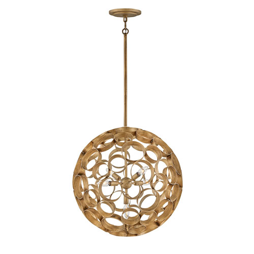 Centric Burnished Gold Four-Light Medium Globe Pendant