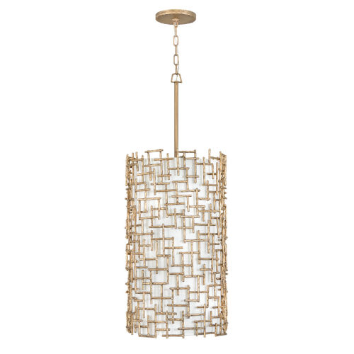 Farrah Burnished Gold Nine-Light Pendant with White Linen Shade