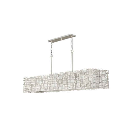 Farrah Silver Leaf 10-Light Chandelier with White Linen Shade