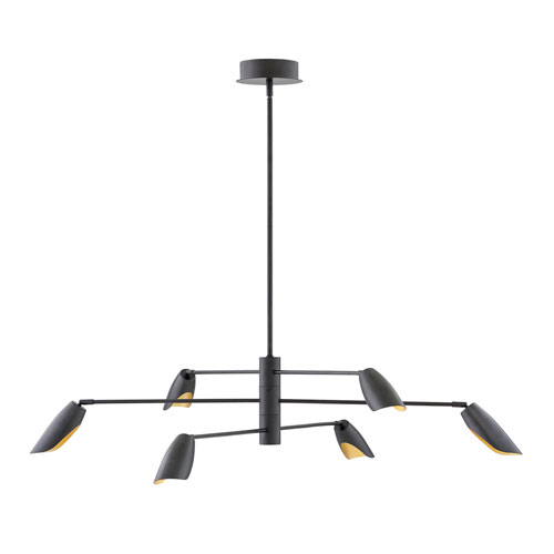 Bowery Black Six-Light LED Title 24 Chandelier